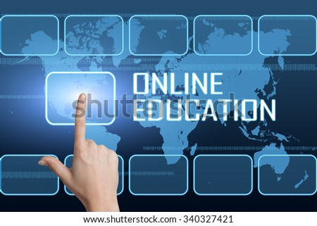 Online Education concept with interface and world map on blue background - stock photo