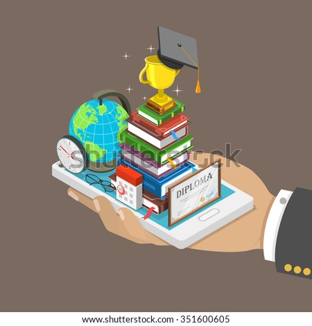 Online education isometric flat concept. Mans hand holds a mobile phone with education attributes like books, diploma, graduation hat. Distant learning service. - stock photo
