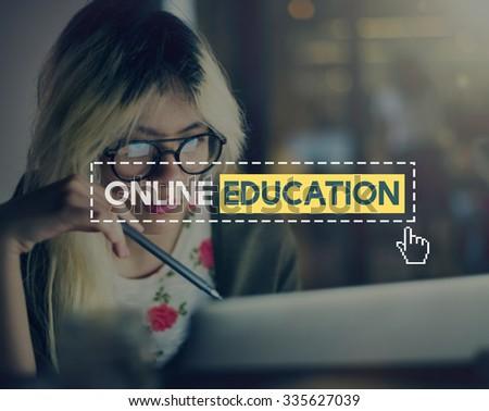 Online Education Knowledge Wisdom Communication Connection Concept - stock photo