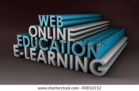 Online Education or Distance Learning in 3d - stock photo