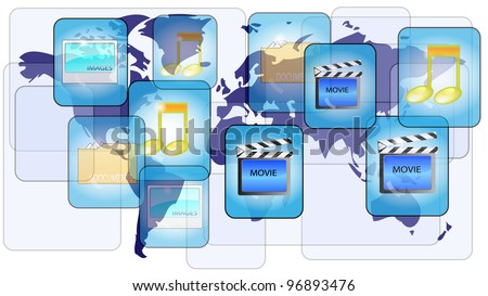 Online file sharing with world map - stock photo