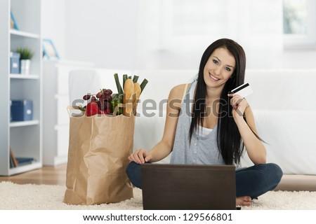 Online groceries - stock photo