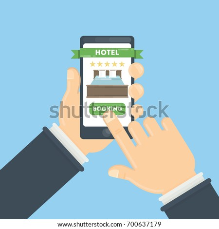 Hotel interior set reception rooms restaurant stock vector for Tablet hotel booking
