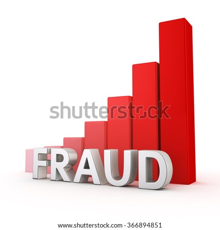 Online information safety concept. Increasing the quantity of fraud issues. The word Fraud against going up red chart graph. 3D illustration about hacker attacks. - stock photo