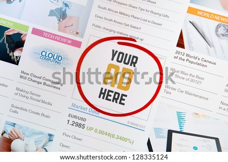 "Online internet banner with text ""YOUR AD HERE"" on a web page. Web page with all pictures and informations are created by contributor himself."