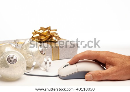 Online internet Christmas background present beautiful silver setting with white space for copy - stock photo