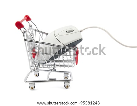 Online internet shopping. Clipping path included. - stock photo
