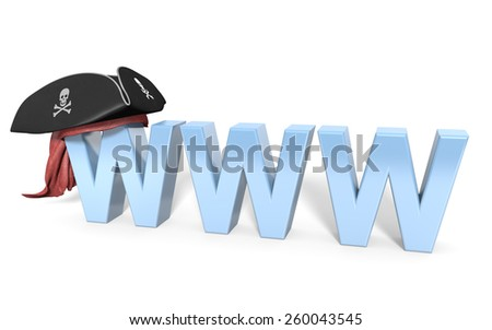 Online internet theft and illegal pirating - stock photo