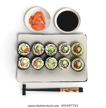 Online Japanese food sushi rolls 3d render on white