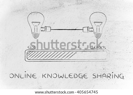 online knowledge sharing: lightbulbs connected with double plug and progress bar, concept of skill transfer - stock photo