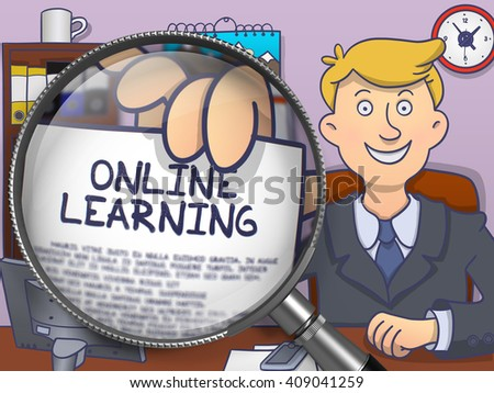 Online Learning. Business Man Welcomes in Office and Shows through Magnifying Glass Concept on Paper. Multicolor Modern Line Illustration in Doodle Style. - stock photo