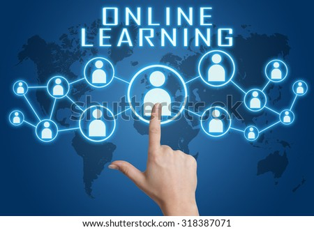Online Learning concept with hand pressing social icons on blue world map background. - stock photo
