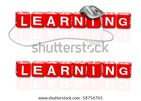 online learning e learning red dices spelling the word learn with or without mouse - stock photo