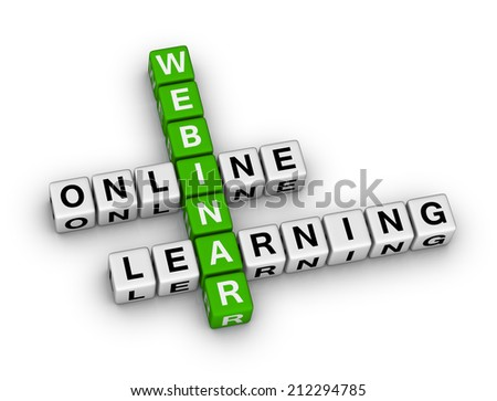 online learning webinar crossword puzzle - stock photo
