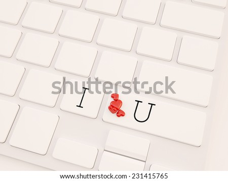 Online love, two hearts symbol at the computer key, i love you - stock photo