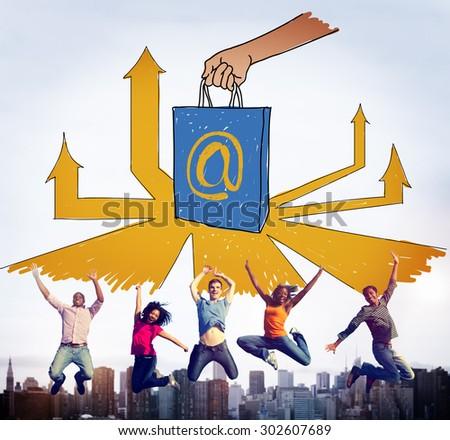Online Marketing  Branding Commerce Advertising Concept - stock photo
