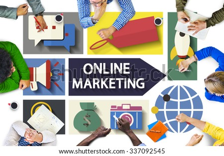 Online Marketing Branding Global Communication Analysing Concept - stock photo