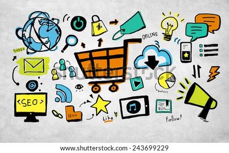 Online Marketing Business E-commerce Advertising Branding Concept - stock photo