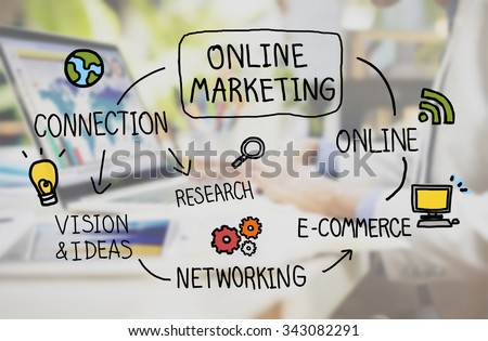 Online Marketing Digital Networking Strategy Vision Concept - stock photo