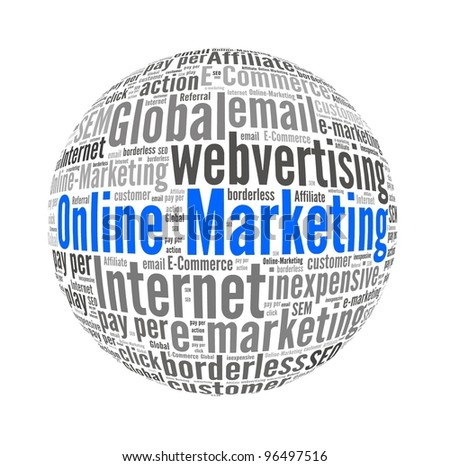 Online Marketing in Word Collage - stock photo