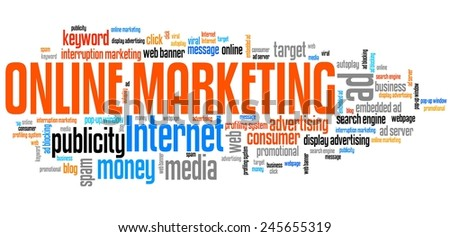 Online marketing - internet concepts word cloud illustration. Word collage. - stock photo