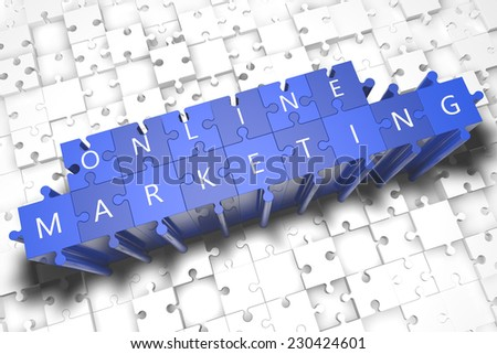 Online Marketing - puzzle 3d render illustration with block letters on blue jigsaw pieces