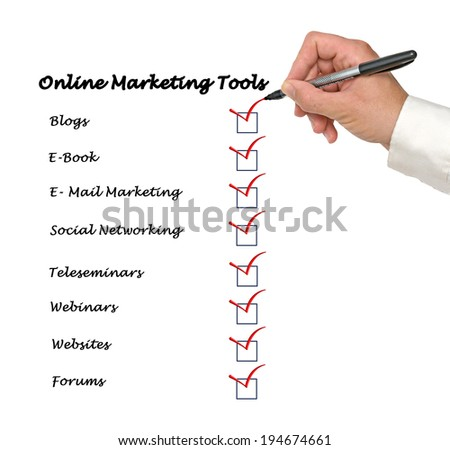 Online marketing tools - stock photo