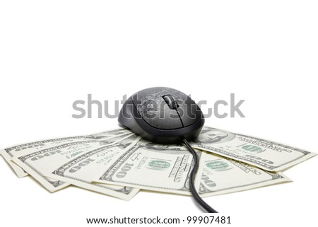 Online money concept. Computer mouse on money. Mouse design was changed - stock photo