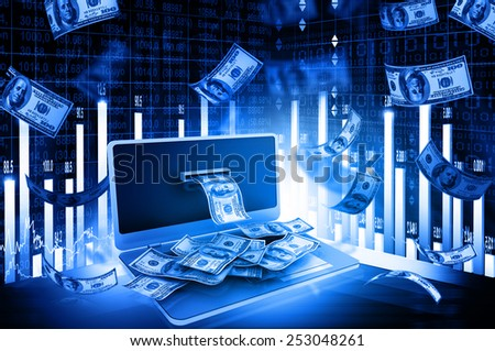 Online money concept with stock market chart - stock photo