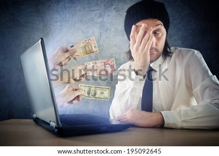 Online money funds, surprised businessman receiving cash over internet. Earning money on network.