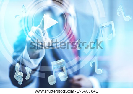 Online music play concept pointing finger - stock photo