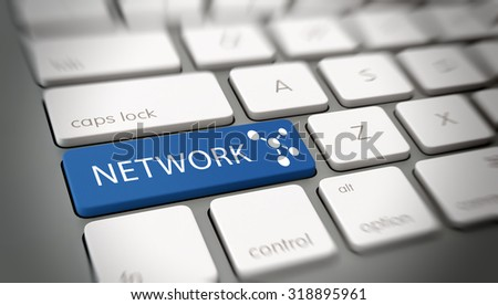 Online network concept with blue enter button on a white computer keyboard with the word - Network - and a network icon conceptual of social media and internet community, close up view. 3d Rendering. - stock photo