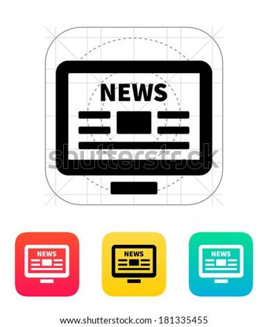 Online news. Desktop PC newspaper icon. - stock photo