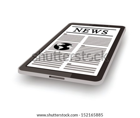 online newspaper on tablet pc - stock photo