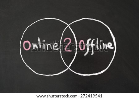 Online 2 Offline words written on blackboard using chalk - stock photo
