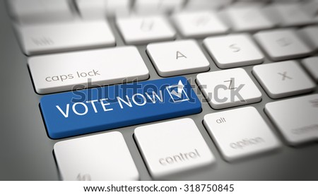 Online or internet Vote Now concept with a blue enter button on a white computer keyboard with the words - Vote Now - and a ticked check box icon, close up with blur vignette. 3d Rendering. - stock photo