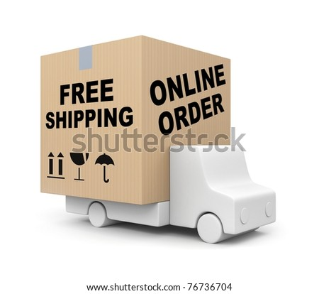 Online order - Free shipping - stock photo
