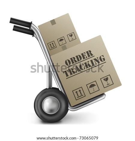 online order tracking of packages send by a internet web shop brown cardboard box on hand truck isolated on white - stock photo