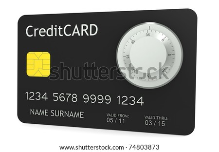 Online Payments. A credit card with Combination Lock - stock photo