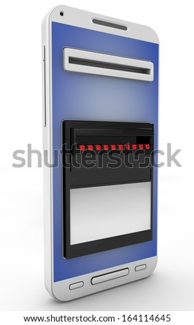 Online payments concept. ATM machine panel on mobile phone screen. Isolated on white background.3d rendered. - stock photo