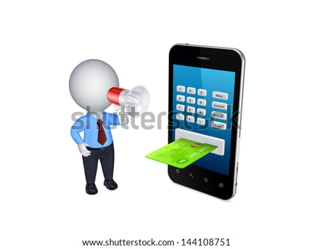 Online payments concept.Isolated on white.3d rendered.