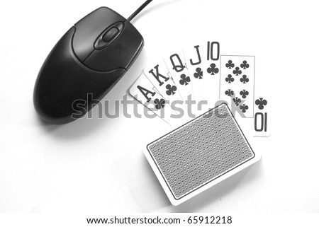 Online poker gambling concept full house on computer - stock photo
