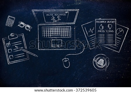 online reputation: laptop and documents with customer feedback and strategy - stock photo