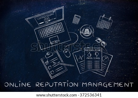 online reputation management: messy desk with laptop and documents with feedback stats - stock photo