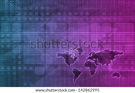 Online Research Concept on Data Around the World - stock photo