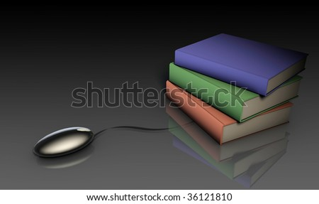 Online Research Concept Using Web Mouse and Books - stock photo