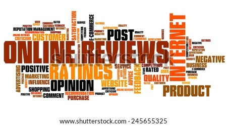 Online reviews - internet concepts word cloud illustration. Word collage. - stock photo