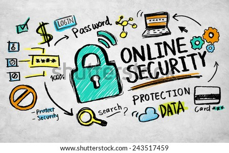 Online Security Protection Internet Safety Guard Lock Concept - stock photo