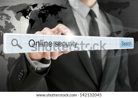 Online security written in search bar on virtual screen. - stock photo