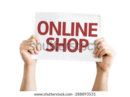 Online Shop card isolated on white - stock photo